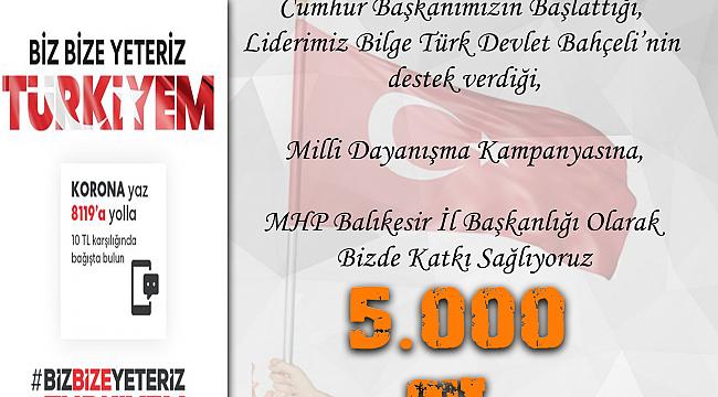 MHP Balıkesir İl Başkanlığı 5 bin TL'lik bir yardım havuzu oluşturdu