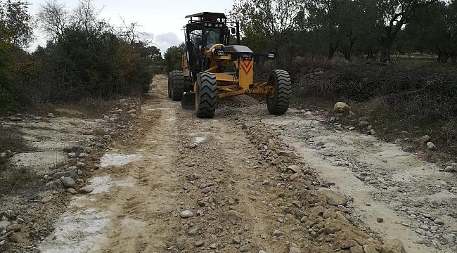 Tarla ve zeytinlik yolları ekiplerce açılmaya devam ediliyor.